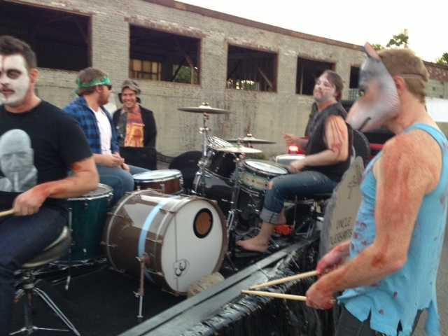 A behind the scenes look at Caufield's Halloween Parade from The New Vintage rock n' roll float before the parade hit the stree