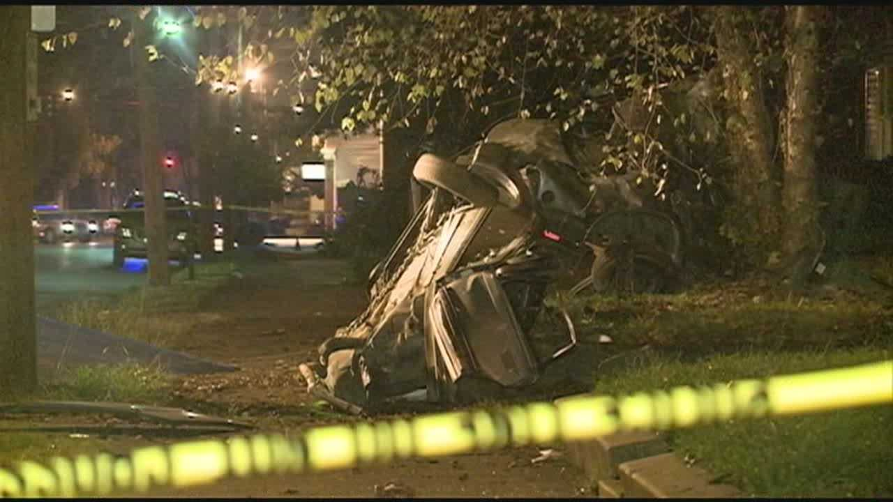One person was killed when a vehicle struck a tree.