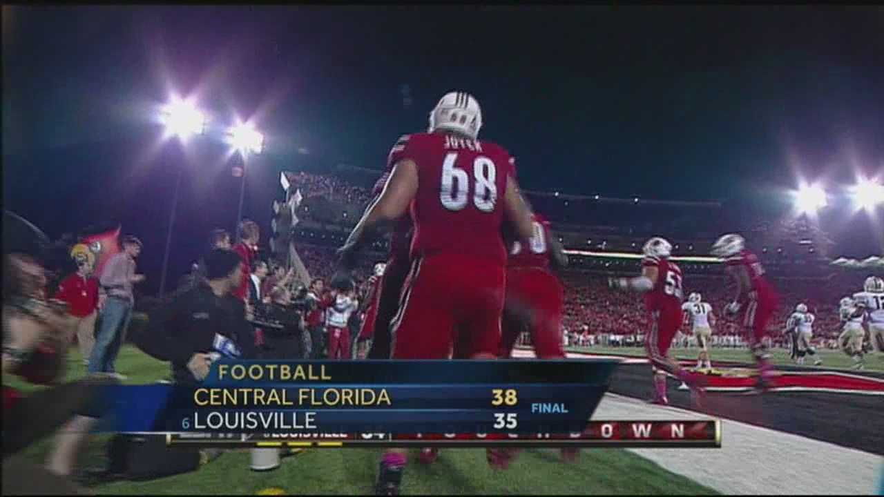 The University of Louisville falls to Central Florida 38-35 Friday night.