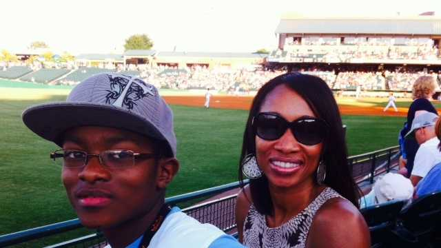 Devin and Ann at WLKY Day at Slugger Field.