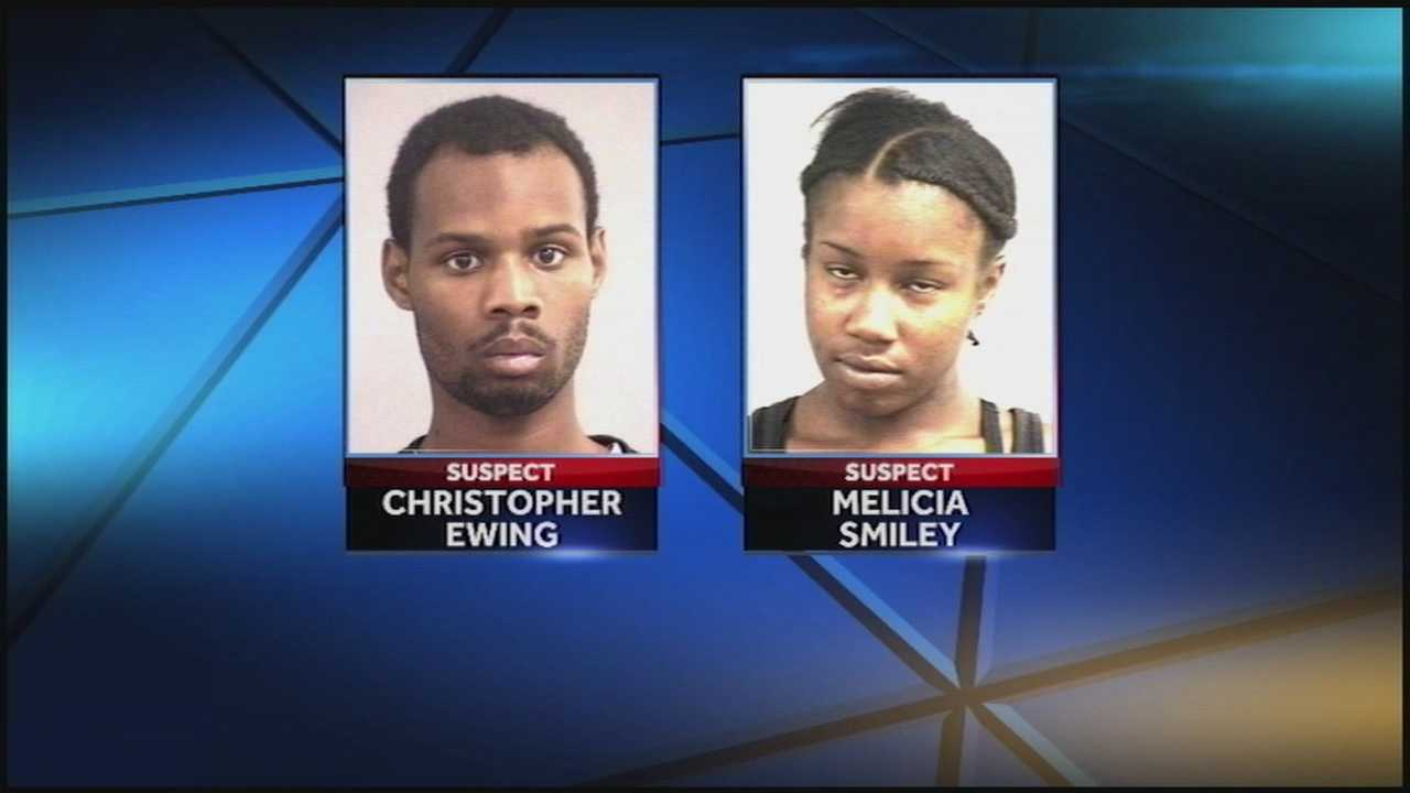 Police arrest two people in connection with beating and robbing a woman.