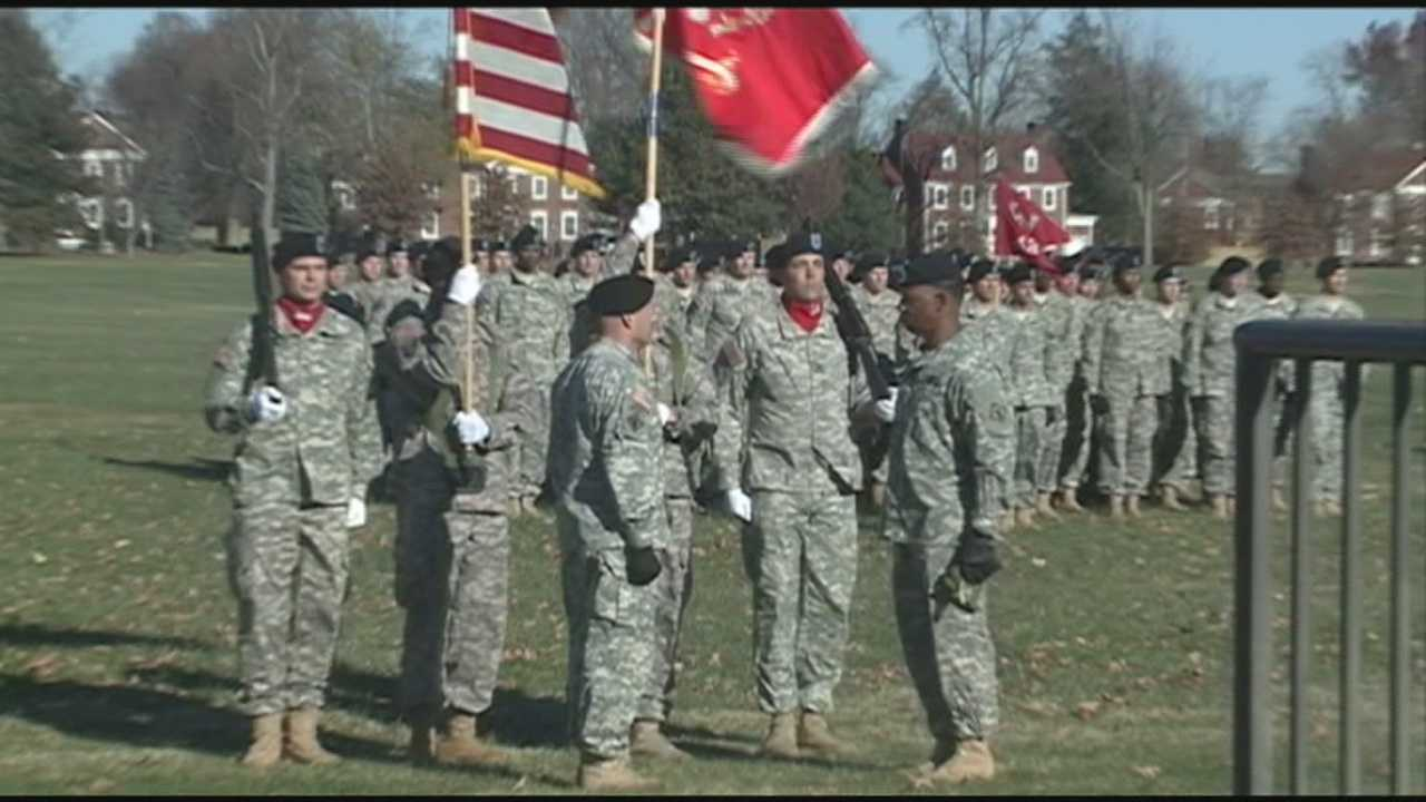 Families gather to send off hundreds of soldiers who will not be home for the holidays.