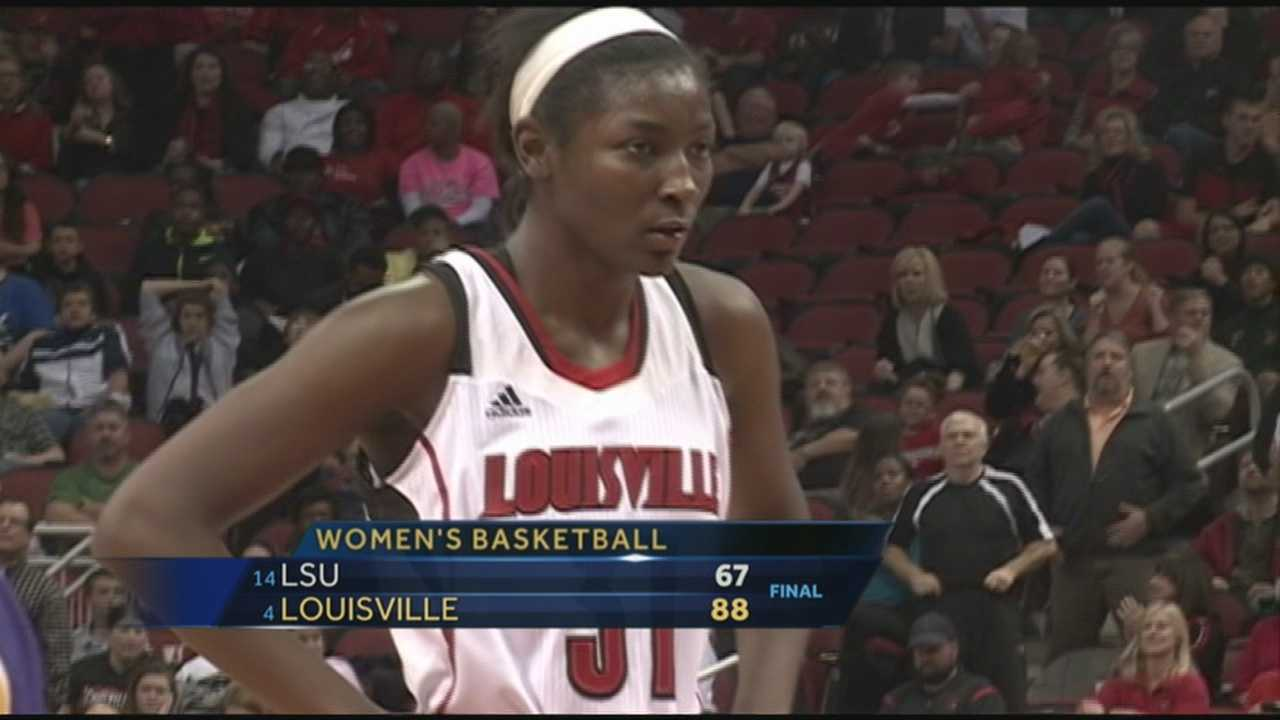 The University of Louisville Lady Cards defeat LSU Thursday night at the KFC Yum! Center.
