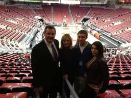 Rick, Vicki, Jonathan and Amanda Edelen at the UK-UL game at the KFC Yum Center in 2012