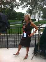 Vicki prepares for a live shot at the White House in summer 2012.