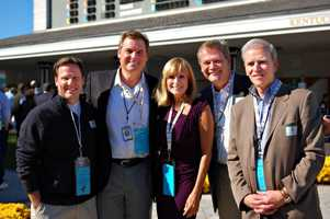Jay, Rick, Vicki, Fred and Steve Burgin at the WLKY 50th Anniversary at Churchill Downs