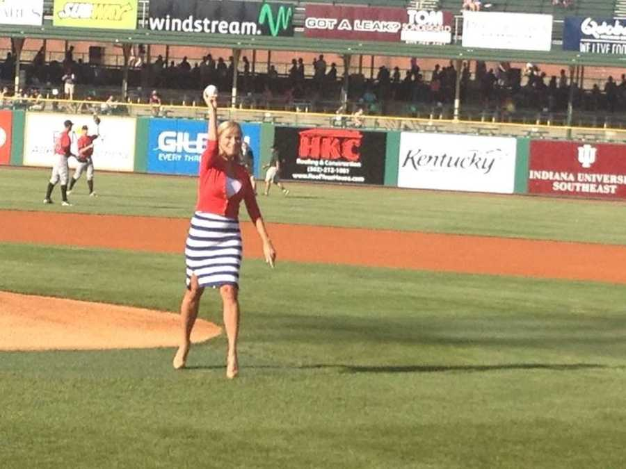 Vicki's first pitch at the Louisville Bats game.