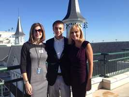 Former WLKY reporter Amy Wagner with Vicki and her son, Jonathan, at WLKY 50th Anniversary at Churchill Downs.
