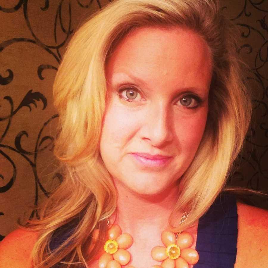 No smiles from reporter Erin Haynes in her selfie