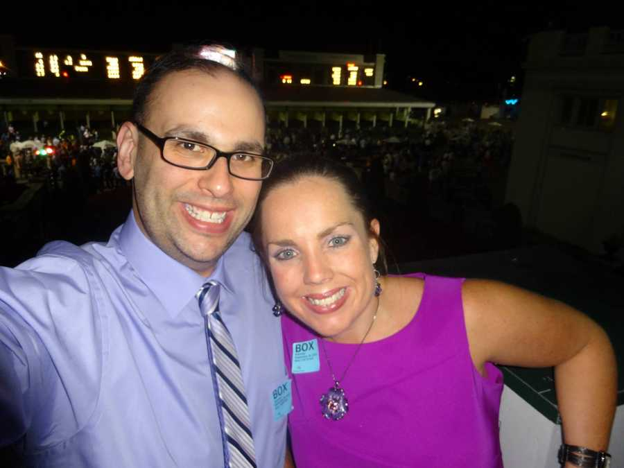 6 p.m. producer Josh Abelove and his fiancee, Michelle, take a couple selfie