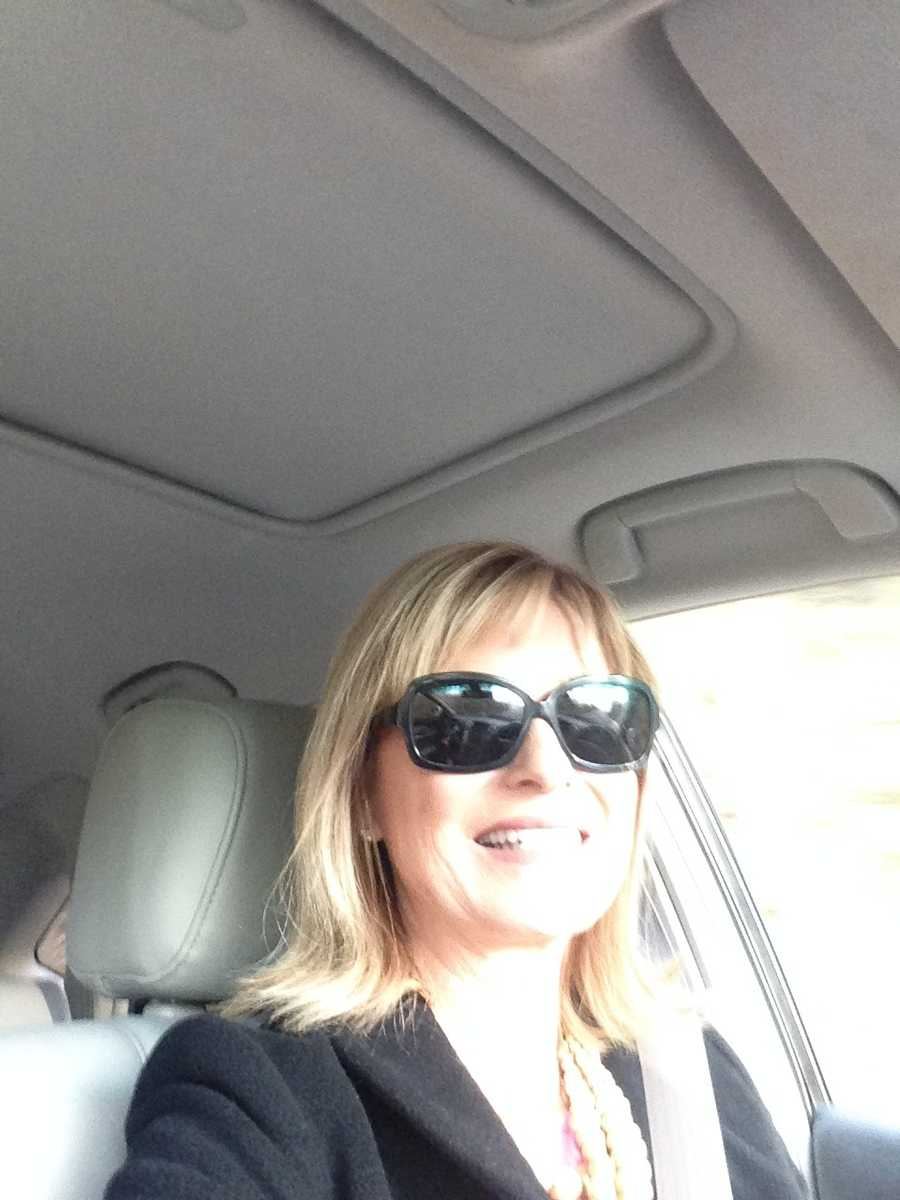 Anchor Vicki Dortch cranks up the Christmas music and snaps a selfie before driving to work on Tuesday afternoon