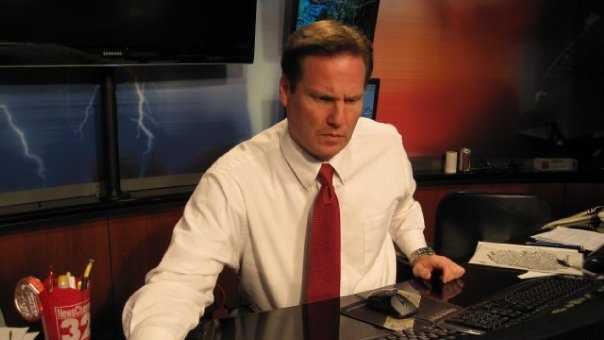 Jay in the weather center in 2010