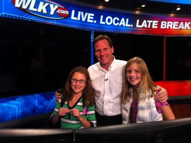 Jay with special guests in the weather center