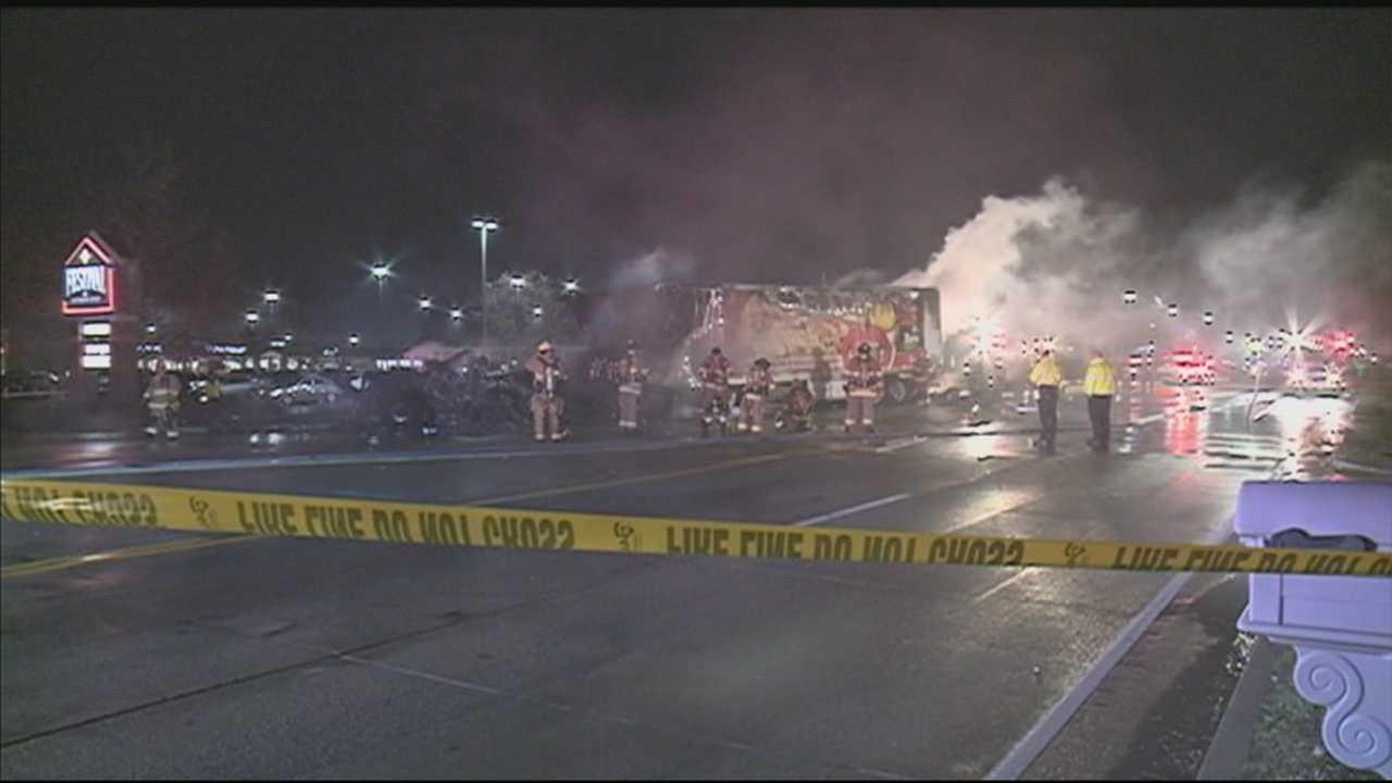 Two people were taken to an area hospital after a fiery crash.