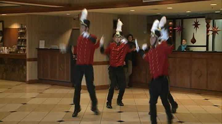 A foursome of dancing bellmen greet guests at the Galt House in Louisville with an unforgettable Jingle Bells dance performance.