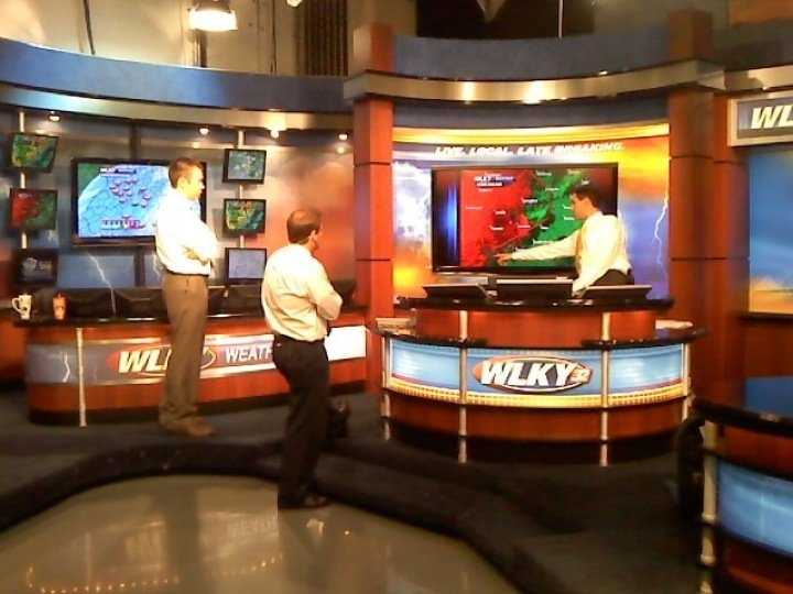 Jared, Jay, Matt during severe weather in our old weather center.