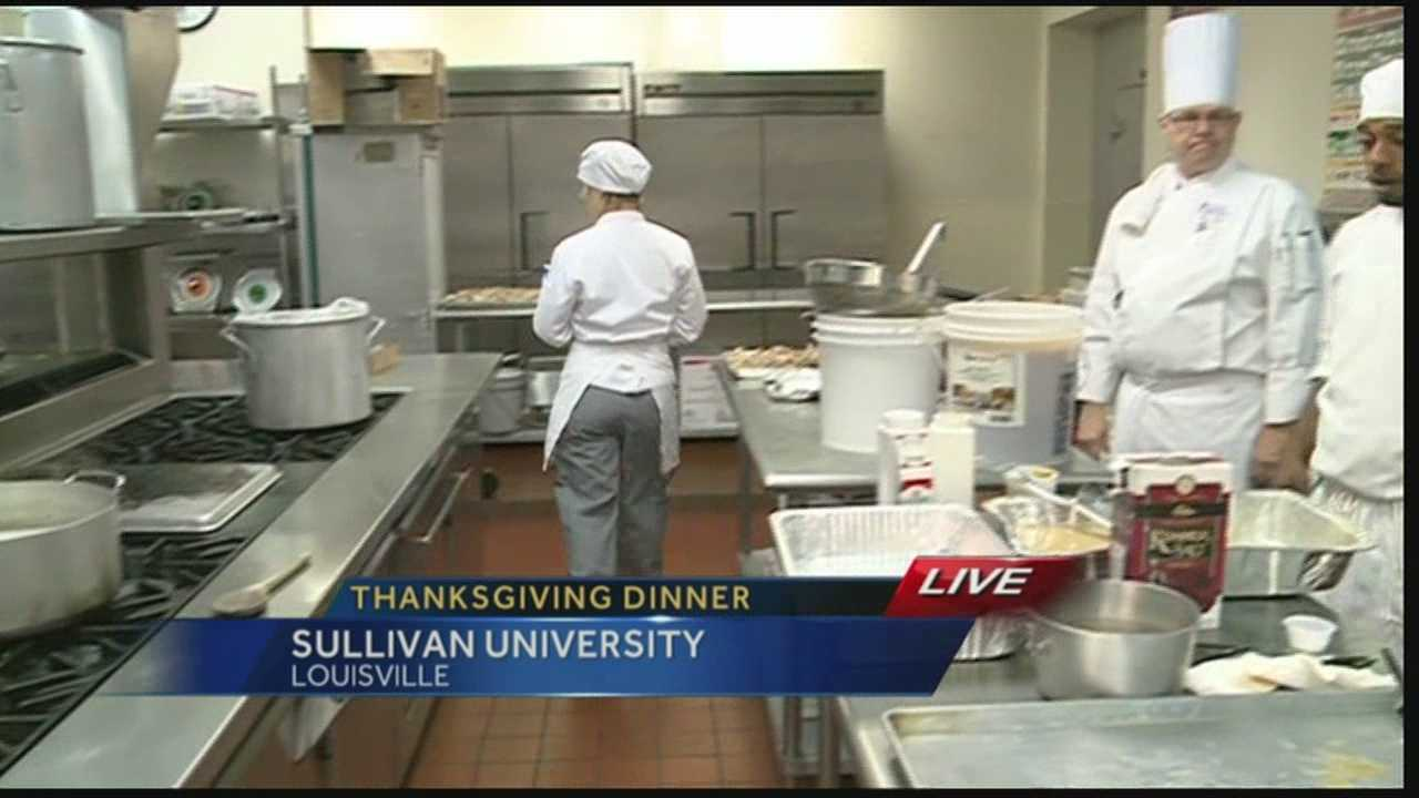 The students and faculty at Sullivan University help the Salvation Army prepare holiday meals.