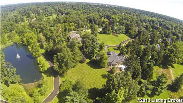 Aerial view of the 1.54 acre, immaculately landscaped property.