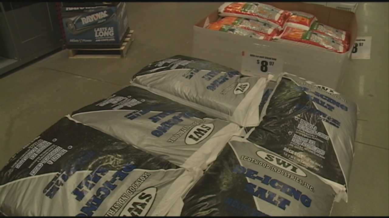 Grocery stores and home improvement stores were busy Thursday ahead of the incoming winter storm.