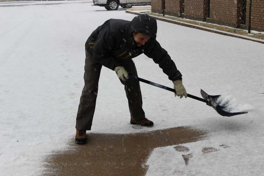 IT Manager Erik Stagg doubles as a snow removal machine