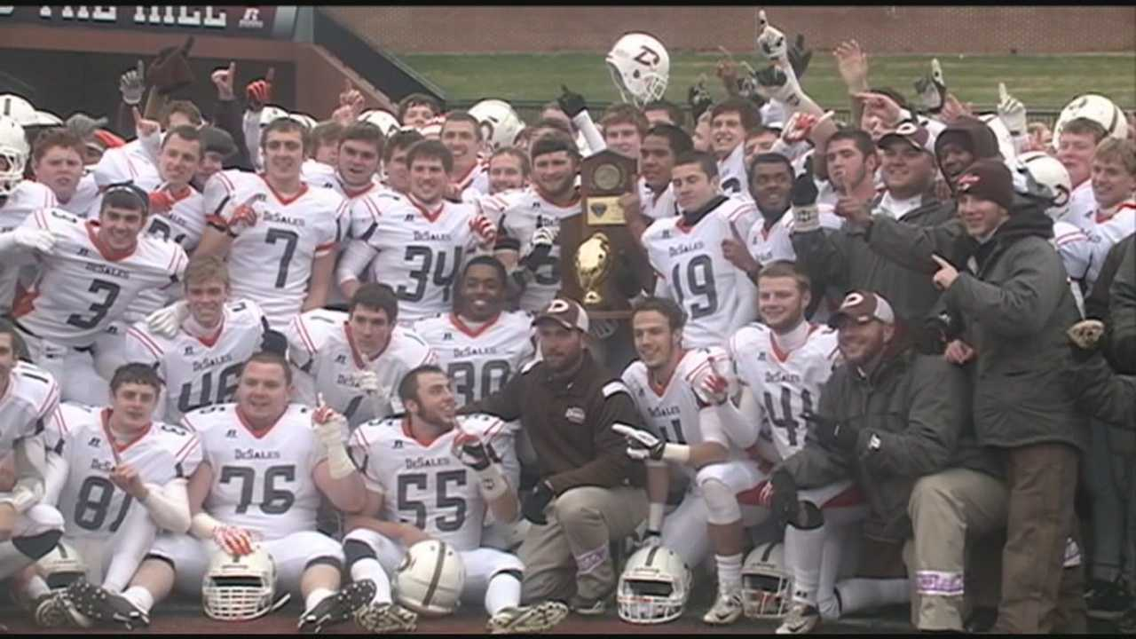 The DeSales Colts celebrated winning their first state football title with a rally at the school Monday afternoon.