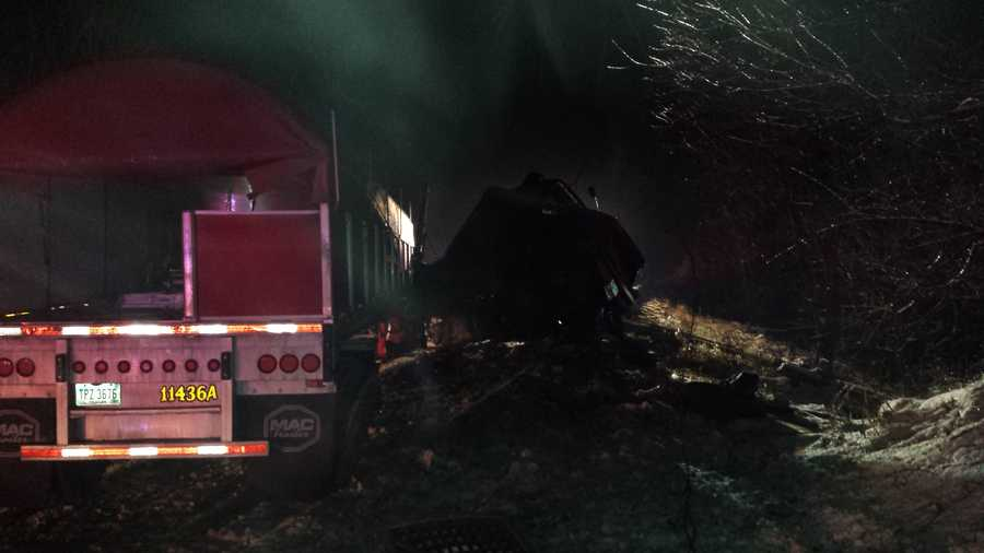 A tractor-trailer jackknifed, crashed into a guardrail and ruptured its fuel tanks, causing 400 gallons of fuel to spill across interstate 64 in Floyd County.