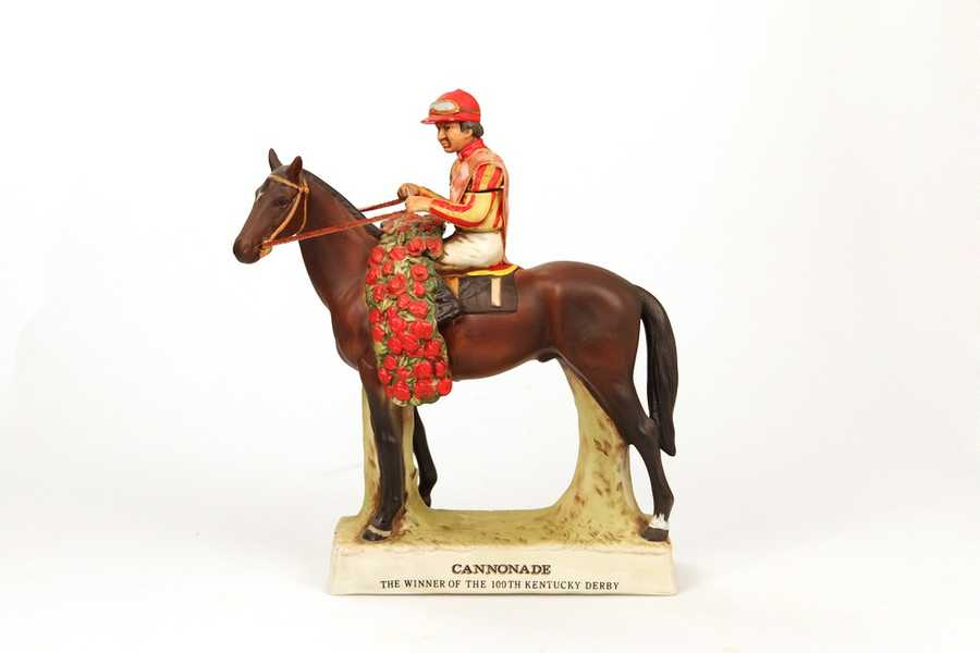 This Lionstone decanter commemorates Cannonade's victory in the 100th Kentucky Derby in 1974.