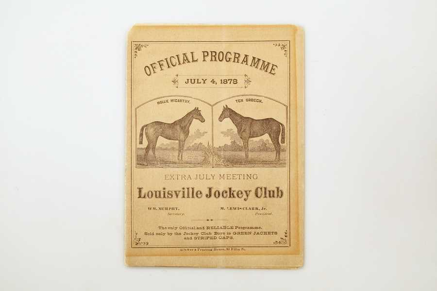 This is a program for the 1878 Ten Broeck/Mollie McCarthy match race at Churchill Downs, one of the most anticipated races in the history of the track up to that point.