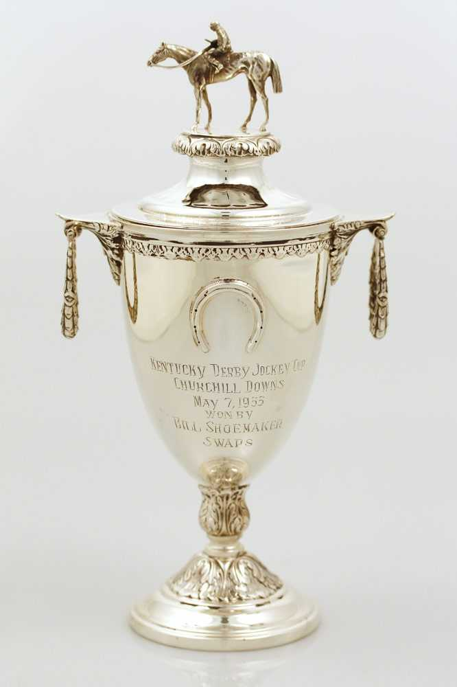 Bill Shoemaker received this trophy in recognition of his first Kentucky Derby victory aboard Swaps in 1955. He won the race three additional times: 1959, 1965 and 1986.