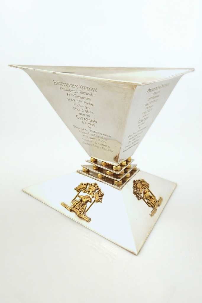 """Trainer H.A. """"Jimmy"""" Jones received this Triple Crown Trophy in recognition of Citation's sweep of the Kentucky Derby, Preakness Stakes and Belmont Stakes in 1948."""