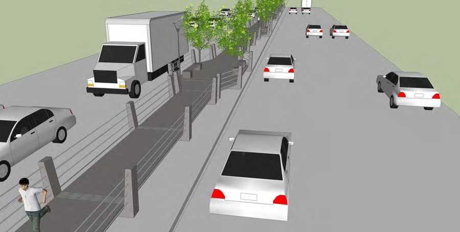 Promenade through median at Overpass (option 2)