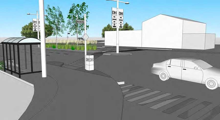 New bus shelters and pedestrian crosswalks.