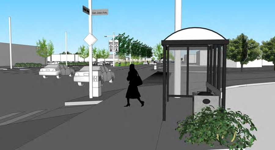 Green median and plantings around bus shelters