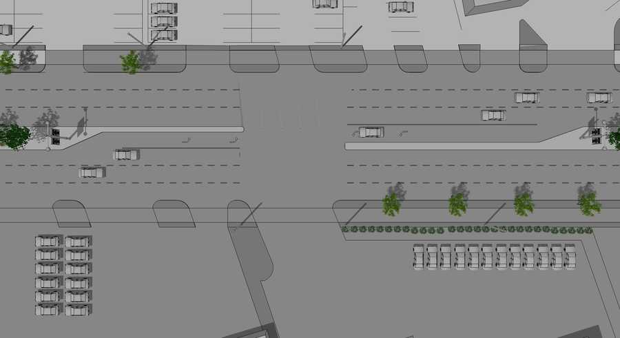 Mid-block access management plan (between San Jose and Gagle Ave.) North is to the right