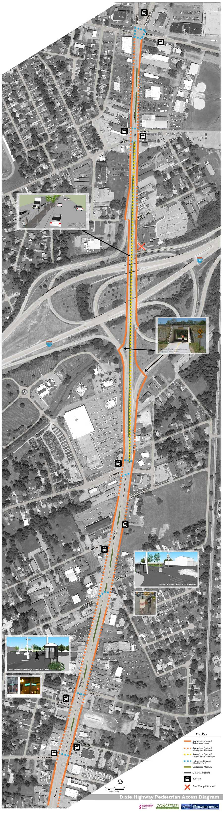 Dixie Highway Pedestrian Access Diagram