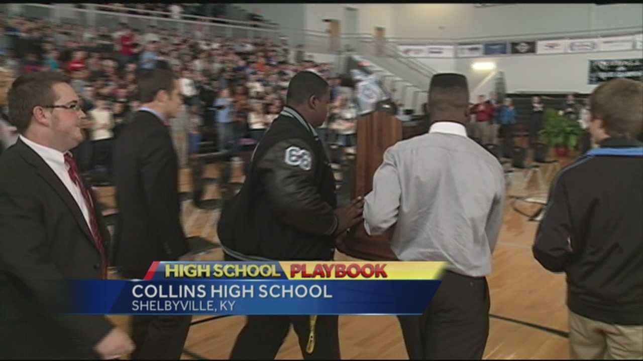 The Collins High School football team celebrates its state football championship with a pep rally Friday.