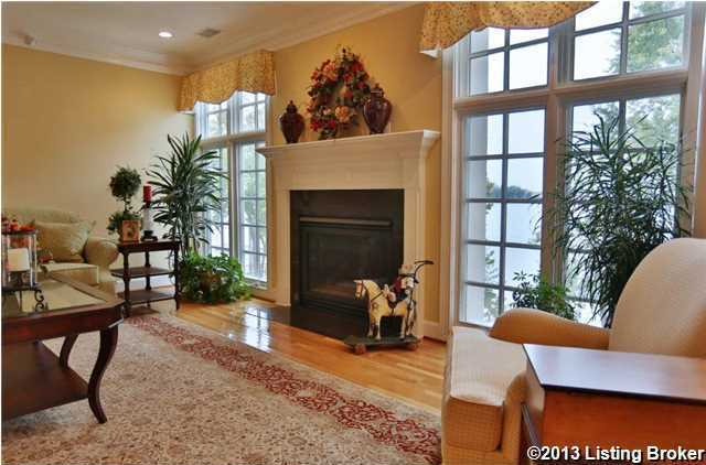 Living room boasts a beautiful fireplace.