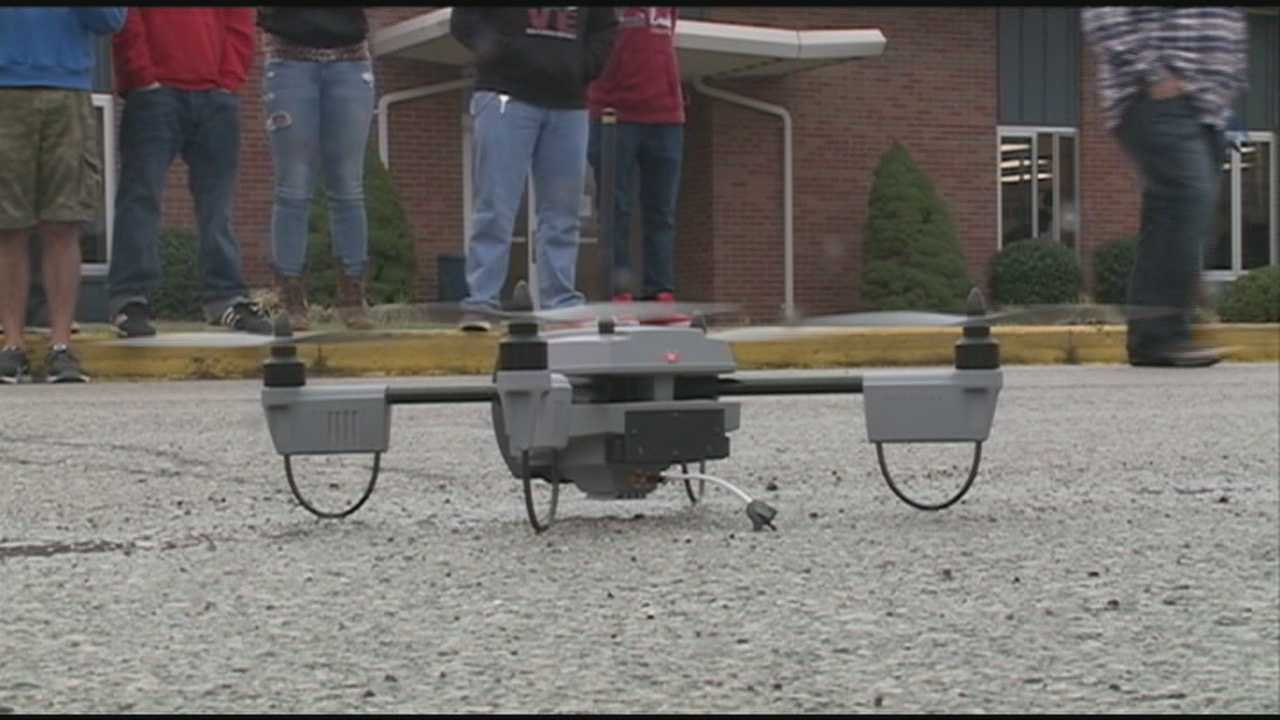 Students at one New Albany school got a lesson about drone technology Friday.