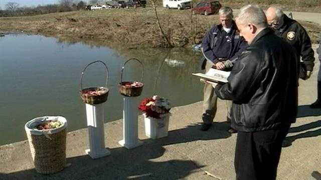 Family and gather Friday to remember three people killed when their vehicles was swept away by flood waters.