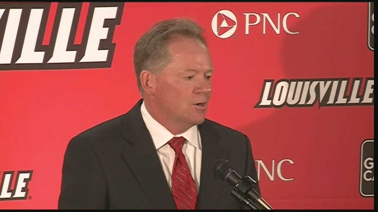 The University of Louisville introduces Bobby Petrino as its new head football coach.