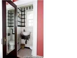 Stylish guest, half bathroom.