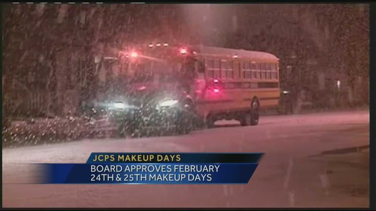 The JCPS board has approved when students will make up snow days