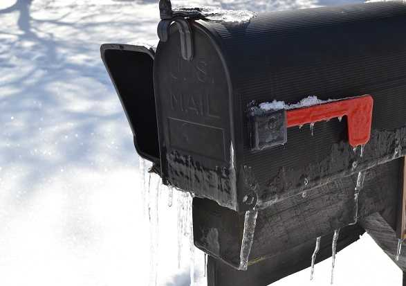 Can't check your mail because the mailbox is frozen shut.