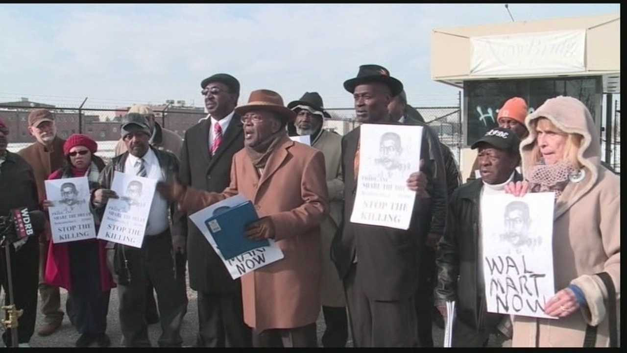 A group of people rallied to have a Walmart built to bring jobs to the area.
