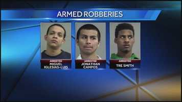 Three men were charged in connection with an armed robbery.