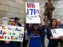 Fairness supporters from across the state rally in Frankfort Wednesday.