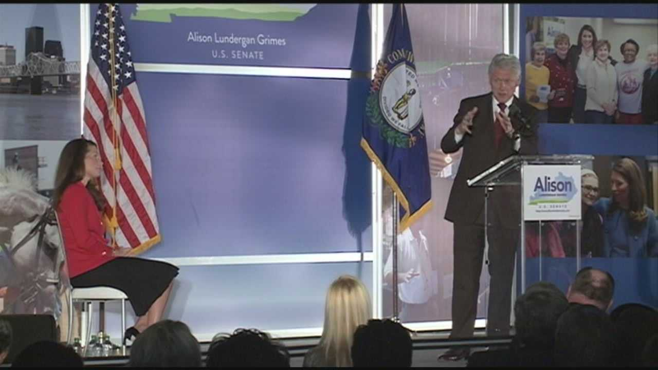 Former President Bill Clinton headlined a fundraiser for Senate candidate Alison Lundergan Grimes at the Galt House in Louisville on Tuesday.