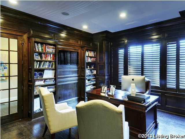 Masculine decor in the home's private office.