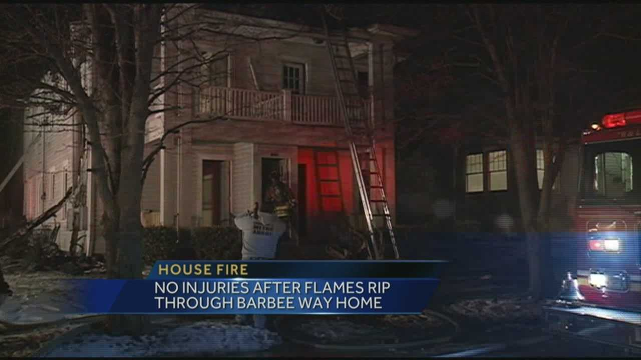 No one was injured after fire ripped through a house on Barbee Way.