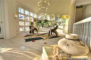 The dining room itself showcases a contemporary interior design.